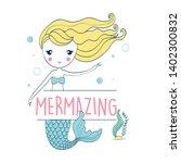 hand drawing mermaid... | Shutterstock .eps vector #1402300832