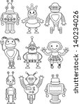 cartoon robots   vector | Shutterstock .eps vector #140234026