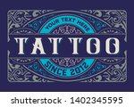 tattoo logo. old lettering on... | Shutterstock .eps vector #1402345595