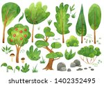 design set with trees  nature... | Shutterstock . vector #1402352495