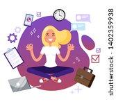 office worker in yoga pose.... | Shutterstock .eps vector #1402359938