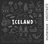 iceland outline vector travel... | Shutterstock .eps vector #1402376372