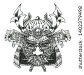 evil samurai head and mask with ... | Shutterstock .eps vector #1402379498