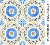 watercolor ornament square... | Shutterstock . vector #1402393175