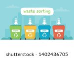waste sorting illustration with ... | Shutterstock .eps vector #1402436705