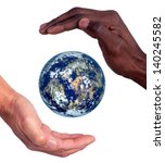 Hands of different races together around the planet isolated in white