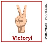hand shows victory gesture with ... | Shutterstock .eps vector #1402461302