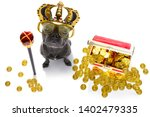 french bulldog dog as king with ... | Shutterstock . vector #1402479335