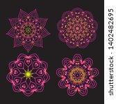 set of ethnic fractal mandala... | Shutterstock .eps vector #1402482695