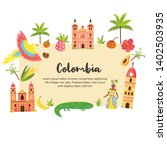 tourist poster with famous... | Shutterstock .eps vector #1402503935