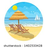 paradise beach of the sea with... | Shutterstock . vector #1402533428