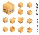set of isometric cardboard... | Shutterstock .eps vector #1402534145