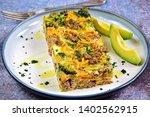 breakfast egg casserole with... | Shutterstock . vector #1402562915