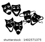 tragedy and comedy theater... | Shutterstock .eps vector #1402571375