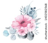 watercolor floral bouquets with ... | Shutterstock . vector #1402582568