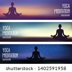 yoga and meditaton banners  can ... | Shutterstock .eps vector #1402591958