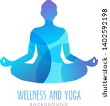 yoga symbol  meditation person. ... | Shutterstock .eps vector #1402592198