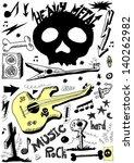 doodle music  heavy metal | Shutterstock . vector #140262982
