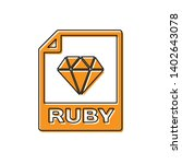 orange ruby file document icon. ... | Shutterstock .eps vector #1402643078