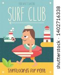 surfing poster. funny cartoon... | Shutterstock .eps vector #1402716338