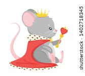 cute mouse king flat vector... | Shutterstock .eps vector #1402718345