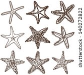 Starfishes. Vector set