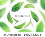 realistic green leaves whirl in ... | Shutterstock .eps vector #1402733375
