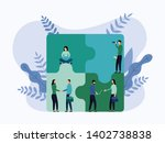 team working  people connecting ...   Shutterstock .eps vector #1402738838