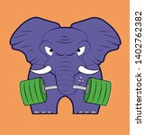a cartoon elephant lifts... | Shutterstock .eps vector #1402762382