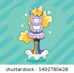 cute sweet unicorn kawaii... | Shutterstock .eps vector #1402780628