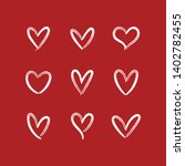 heart doodle icons. hand drawn... | Shutterstock .eps vector #1402782455