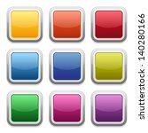 colorful square glossy buttons | Shutterstock .eps vector #140280166