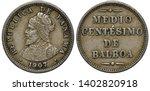 Panama Panamanian coin 1/2 half centesimo 1907, armored bust of Balboa left, denomination in words,
