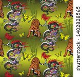pattern of tiger and dragon.... | Shutterstock .eps vector #1402828565