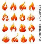 fire flames  set 3d red icons ... | Shutterstock .eps vector #140284636