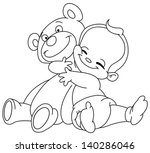 outlined cheerful baby hugging... | Shutterstock .eps vector #140286046