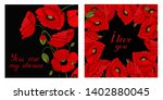 greeting cards with floral... | Shutterstock .eps vector #1402880045