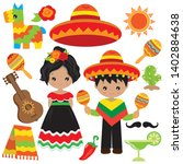 mexican boy and girl vector... | Shutterstock .eps vector #1402884638