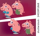 crazy cartoon pig is getting a... | Shutterstock .eps vector #1402891868