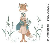 cute cartoon fox with a flower... | Shutterstock .eps vector #1402905212