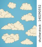 vintage hand drawn clouds eps10 ... | Shutterstock .eps vector #140290552