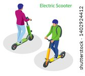 isometric electric scooter on... | Shutterstock .eps vector #1402924412