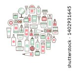 cosmetic collection with text... | Shutterstock . vector #1402931645