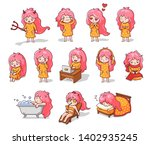 big set of stickers and emoji... | Shutterstock .eps vector #1402935245