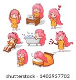set of cute little pink haired... | Shutterstock .eps vector #1402937702