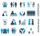 Office Business Icons. Management and Relationship Situations