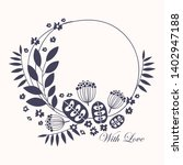 wreath. vector floral... | Shutterstock .eps vector #1402947188