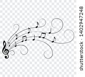 music notes  swirls  isolated ... | Shutterstock .eps vector #1402947248