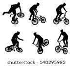 stunt bicyclist silhouettes