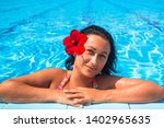 beautiful brunette with red... | Shutterstock . vector #1402965635
